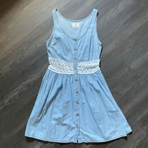 Denim Dress with crochet detailing and pockets!!